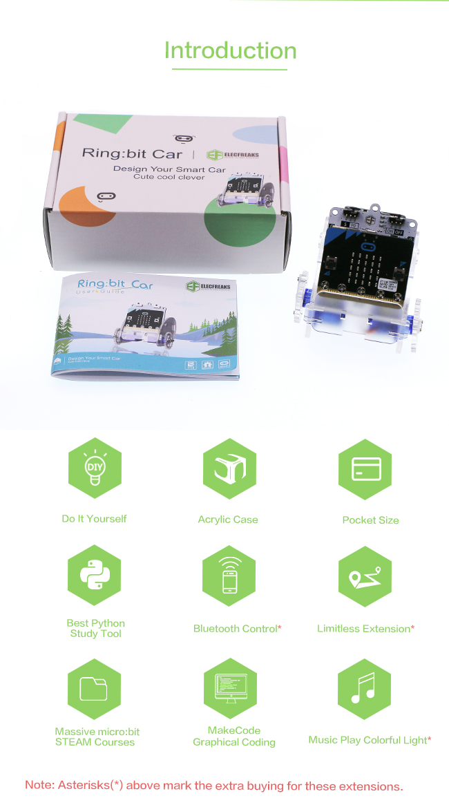 EF09079 Ring:bit Car — Mirco:bit Educational Smart Robot Kit for Kids  (Without Micro:bit board)-(ringbit car)