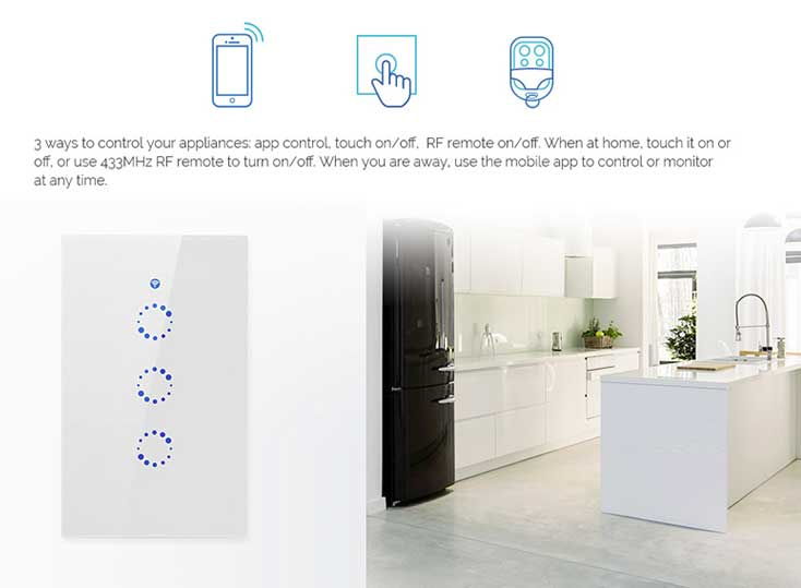 SONOFF-T1-3G SONOFF® Luxury Touch/WIFI/RF-Remote Wall Switch Module for  Smart Home- For North America- Triple Devices Control