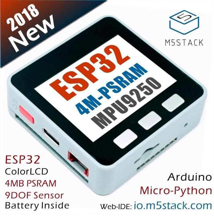 M5STACK-PSRAM M5 Stack MPU9250 + PSRAM kit Based on ESP8266 IoT (Grey)