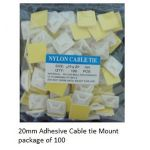 34-210-100 Adhesive Cable Tie Mount 20mm sq. - Pkg of 100