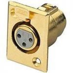 45-694G Gold Plated 3 Position Female XLR Panel Mount