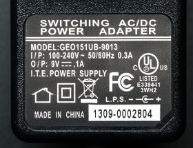 63-ADA 9 VDC 1000mA regulated switching power adapter - UL listed