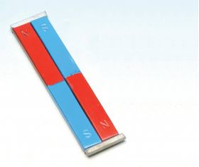 PH0786D Painted Blue/Red Bar Magnets - Chrome Steel, 100 x 12 x 5 mm