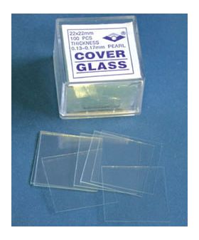 7-1305-21 Microscope Glass Cover Slip #1 (22x22mm) Box of 100